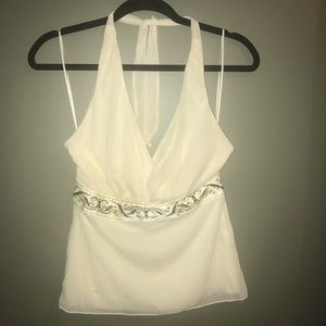 The Limited Cream Halter Top